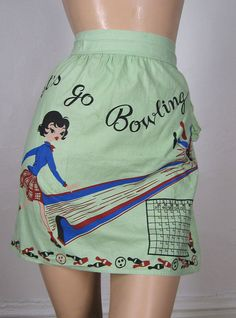 """Vintage """"Let's Go Bowling apron"""". Complete with scoreboard, how cool is that! via lucitebox.com"""