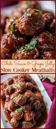 Chili Sauce and Grape Jelly Slow Cooker Meatballs via @ohsweetbasil