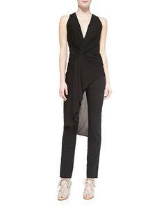 -5FEH Donna Karan Deep V-Neck Draped Tunic & Straight-Leg Pull-On Trousers