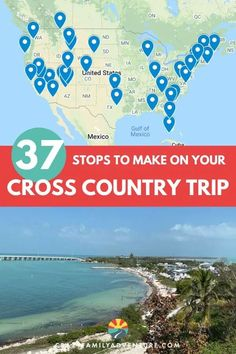 37 stops you don't want to miss on your US cross country road trip! There are so many routes you can take - in our post we lay out the stops you don't want to miss. This trip is great with an RV, with kids and with a dog! In here we include what you need to do when planning a trip and tips on what to do at the places you visit. Plan an incredible USA vacation with this great road trip route. So many fun things to do, beaches, hikes, adventures and more. Don't miss this list! Road Trip Map, Road Trip Hacks, Road Trips, Rv Travel, Travel Maps, Family Travel, Cross Country Trip, Country Roads, Road Trip Essentials