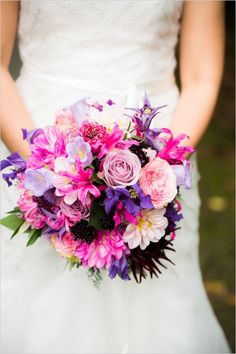 Pink and purple wedding bouquet by don florito