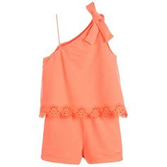 Chloé Girls Peach Jersey Playsuit at Childrensalon.com