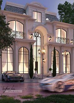 Frensh villa on Behance Classic House Exterior, Modern Exterior House Designs, Classic House Design, Dream House Exterior, Exterior Design, House Outside Design, House Front Design, Villa Design, Facade Design