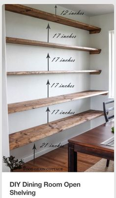Best DIY Projects: DIY Dining Room Open Shelving by The Wood Grain Cottage. Best DIY Projects: DIY Dining Room Open Shelving by The Wood Grain Cottage. Cool Diy Projects, Home Projects, Project Ideas, Pallet Projects, Diy Pallet, Craft Projects, Floating Shelves Diy, Rustic Shelves, Pallet Shelves