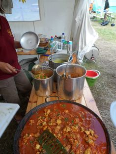 Curry for 44 - chicken curry, cauliflower and pea curry, Bombay potatoes & dahl - cooked in a field Paella Party, Chicken Curry, Dahl, Main Meals, Cauliflower, Potatoes, Asian, Inspired, Cooking