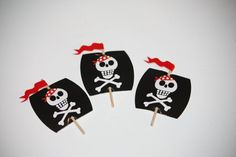 24 Pirate Cupcake Toppers Cross and Bones by LuxePartySupply