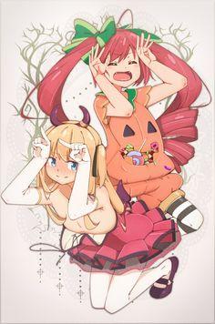 Potofu Shimotsuki, & Watora Hazuki   Artist: アワチ-Awachi #loli #halloween