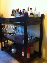 changing table repurposed into a bar cart- I am totally do this!  I have one....  I am going to make it an outside bar on back porch for parties!!  Love it!