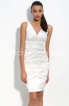 967d597f34 Charming Sheath Columne V-Neck Mini-Length Pleats Wedding Dresses V Neck  Dress