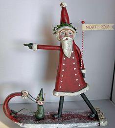 Sculpted Christmas Santa Elf, Boy HOWDIE PAPIER MACHE FOLK ART by Dawn Tubbs
