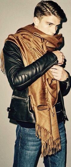 Urban Style, Black Moto Jacket and Silk Shawl Scarf, Men's Fall Winter Fashion.