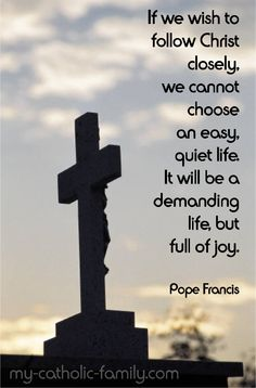 If we wish to follow Christ closely, we cannot choose an easy, quiet life. It will be a demanding life, but full of joy.  Pope Francis