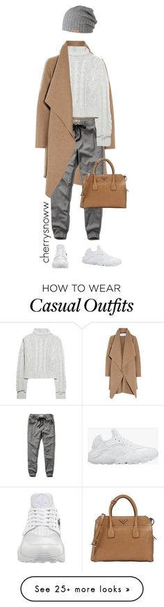 """Casual chic in sweatpants"" by cherrysnoww on Polyvore featuring Harris Wharf London, Barts, Abercrombie & Fitch, Bamford, NIKE, Prada and modern"