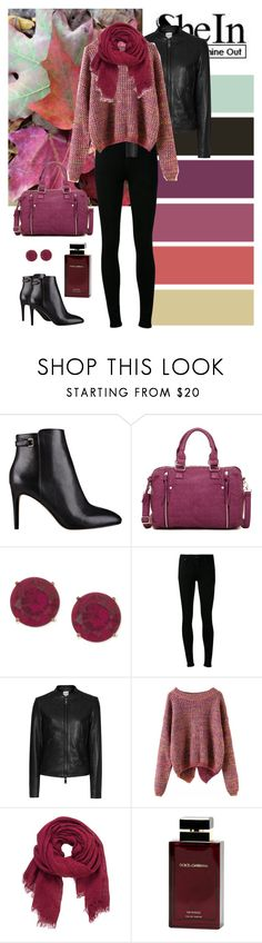 """""""SheIn(sheinside) Long Sleeve Slit Back Purple Sweater"""" by dezaval ❤ liked on Polyvore featuring Nine West, Bueno, Anne Klein, Citizens of Humanity, maurices, Dolce&Gabbana, casual, booties, Sheinside and casualoutfit"""