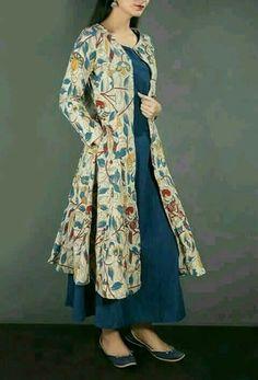 Kalamkari Cape With Maxi Dress In Blue & Beige Price: Kurta Designs, Blouse Designs, Pakistani Dresses, Indian Dresses, Indian Outfits, Kalamkari Dresses, Kalamkari Kurta, Churidar, Salwar Kameez