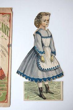 Antique McLoughlin Bros Paper Doll CARRIE GRANT 3 Dresses 2 Hats Orig Envelope. (03/28/2013)