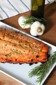 Grilled Rosemary and Garlic Salmon with Smoked Sea Salt Recipe - Fake Food Free Fish Dishes, Seafood Dishes, Fish And Seafood, Seafood Recipes, Shellfish Recipes, Main Dishes, Grilled Fish Recipes, Grilling Recipes, Cooking Recipes