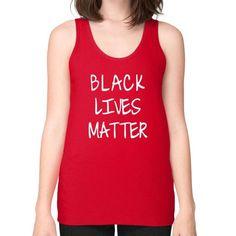 Black Lives Matter Unisex Fine Jersey Tank (on woman) Shirt - Fonts White