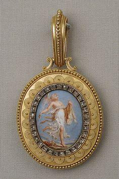 Probably Eugêne Fontenay (French, 1823–1887). Etruscan revival pendant (mid-late 19th century). Gold, enamel, diamond. The Metropolitan Museum of Art, New York. Gift of Jacqueline Loewe Fowler, 2015 (2015.403.1).