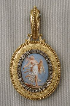 FRENCH ETRUSCAN REVIVAL PENDANT ~ Probably Eugêne Fontenay (French, 1823–1887). Mid To late 19th century. Gold, enamel, diamond. The Metropolitan Museum of Art, New York. Gift of Jacqueline Loewe Fowler, 2015 (2015.403.1).