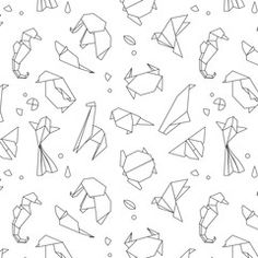 Find Animals Origami Pattern Snake Elephant Bird stock images in HD and millions of other royalty-free stock photos, illustrations and vectors in the Shutterstock collection. Origami Snake, Bear Origami, Origami Penguin, Origami Fish, Origami Butterfly, Origami Animals, Origami Tattoo, Kangaroo Drawing, Crab Tattoo