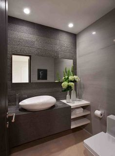 New Post modern half bathroom decor visit Bobayule Trending Decors Bathroom Lighting, Vanity, Mirror, Furniture, Home Decor, Painted Makeup Vanity, Homemade Home Decor, Lowboy, Mirrors