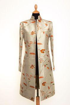 Silk Nehru Coat in Soft Pistachio - £335 #silk #coat #fashion #women #shibumi