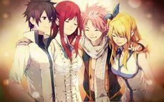 Gray, Erza, Natsu y Lucy