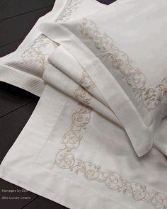Elegant linen for modern bedroom decor by Dea - Home Decoration Cire Trudon, Fantasy Bedroom, Modern Bedroom Decor, Bedroom Ideas, Embroidered Pillowcases, Bed Linen Design, Fine Linens, Linen Bedding, Bed Linens