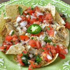 "Chicken Enchilada Nachos | ""Add more peppers/cayenne or hot sauce to liven it up a bit."""