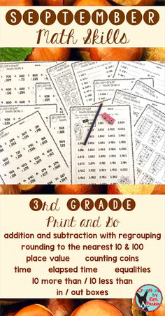 $ This resource contains 18 Print and Go Math worksheets for 3rd grade students. Great for morning work, math stations, early finishers, or homework! Skills cover addition and subtraction with regrouping, place value, counting coins, time, elapsed time, equalities, rounding to the nearest 10 and 100, in/out boxes, and 10 more than/10 less than practice. $