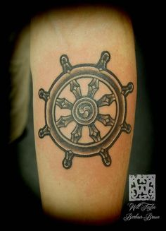 Dharma Wheel tattoo by Will Taylor Barbour-Brown at Blue Dragon, Brighton, UK  www.facebook.com/will.barbourbrown  www.barbourshoptattoo.com  www.bluedragontattoo.co.uk