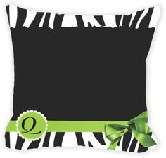 Rikki Knight® Letter ' Q ' Green Zebra Bow Monogram Microfiber Throw Décor Pillow Cushion 16' Square Double Sided Print (Insert Included)