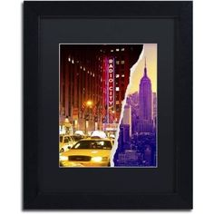 Trademark Fine Art 'Manhattan Buildings' Canvas Art by Philippe Hugonnard Black Mat, Black Frame