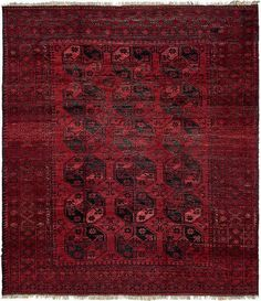 Red Afghan Akhche Area Rug