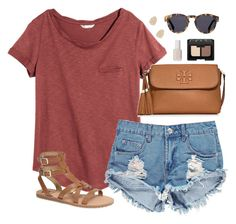 """burnt orange"" by classically-preppy ❤ liked on Polyvore featuring H&M…"