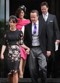 David and Samatha Cameron with Nick Clegg and wife Miriam Nick Clegg, Thanksgiving Service, Samantha Cameron, Power Dressing, Latest News Headlines, Queen Victoria, Beautiful People, Sequin Skirt, Two By Two