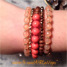 Coral, bronze and peach coil wrap bracelet