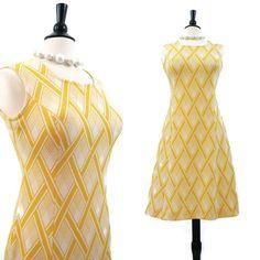 70s Dress Vintage MOD Yellow Diamond Basket weave by voguevintage, $38.00