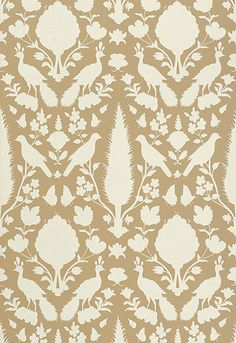 Schumacher Chenonceau wallcovering in Fawn. Could do a small section of this if it's too much all over walls.