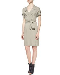 Short-Sleeve Wrap Trench Dress by Burberry Brit at Neiman Marcus.