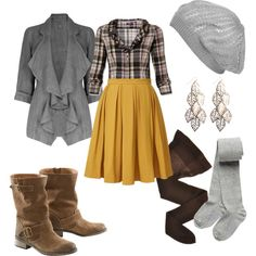 Cute and comfy Fall / Winter Outfit by natihasi on Polyvore - light grey beret and tights, brown stockings, mustard yellow pleated full waist high knee length skirt, medium grey waterfall cardigan 3/4 sleeve, brown mid calf boots, gold and bronze leaf dangle chandelier earrings, brown and black plaid button down blouse 3/4 long sleeve