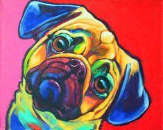 Tony by Ron Burns Pugs, Paint Your Pet, Pug Art, Pug Pop Art, Draw On Photos, Colorful Animals, Pug Love, Watercolor Animals, Dog Portraits