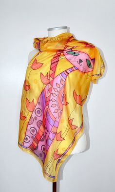 Hand painted colorful silk scarf with a cute cat. Handpained scarf, batik scarf. Scarf for woman. Woman fashion. Gift for mom. Ready to ship