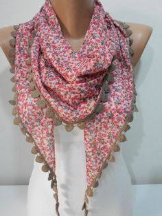 Spring Scarf Summer Scarf Shawl Floral Scarf Triangle Scarf Pink Flower Print Scarf Women's Fashion Accessories Gift For Her, MiracleShine on Etsy, $16.00