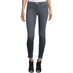 Hudson Nico Released-Hem Skinny Ankle Jeans ($210) ❤ liked on Polyvore featuring jeans, grey, super low rise skinny jeans, gray skinny jeans, super skinny jeans, grey skinny jeans and cropped jeans