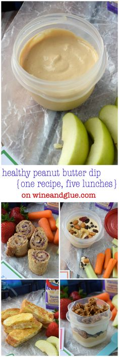 Healthy Peanut Butter Dip {One Recipe, Five Lunches} *Good for home snacks. Peanut Butter Dip, Healthy Peanut Butter, Peanut Butter Recipes, Chutney, Healthy Treats, Healthy Eating, Healthy Food, Snack Recipes, Cooking Recipes