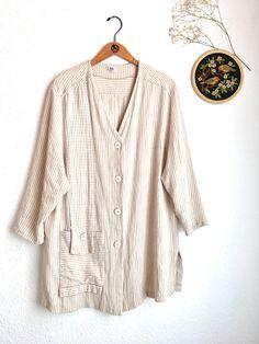 Striped relaxed blazer jacket beige pastel oversized/ large L / long blazer V neck midi sleeves 80s 90s style soft jacket woven