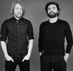 Domhnall Gleeson (General Hux) and Oscar Isaac (Poe Dameron) of Star Wars: The Force Awakens