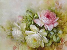 Print FREE SHIP Summer Cabbage Roses No. 2 by VictorianRosePrints
